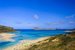 Verbazende mening over Balos-Lagune en Gramvousa-eiland op Kreta stock foto