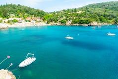 verbazende mening over Ionische overzees van het eiland van Korfu, Griekenland Stock Foto's