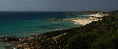 Verbazende mening - Strand Chia - Sardinige Royalty-vrije Stock Foto's