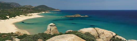 Verbazende mening - Strand Chia - Sardinige Stock Afbeelding