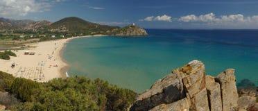 Verbazende mening - Strand Chia - Sardinige Stock Foto