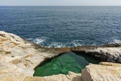 Verbazende mening van de Natuurlijke Pool van Giola in Thassos-eiland, Griekenland stock fotografie