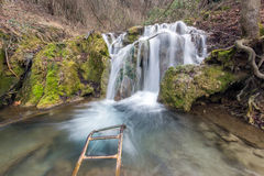 Verbazende mening van Diepe boswaterval dichtbij dorp van Bachkovo, Bulgarije stock foto's