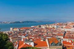 Verbazende mening van Heilige George Castle, Portugal Stock Afbeeldingen