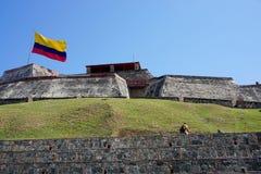 Verbazende mening van het kasteel 'San Felipe ', en de oude defensiebouw in de oude stad van Cartagena stock afbeeldingen