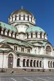 Verbazende mening van Kathedraal Heilige Alexander Nevski in Sofia, Bulgarije Stock Foto's