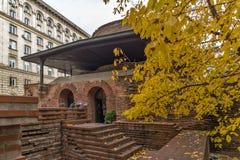 Verbazende mening van Kerk St George Rotunda in Sofia, Bulgarije Stock Fotografie