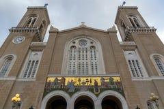 Verbazende mening van Metropolitaanse Kathedraal in Athene, Griekenland royalty-vrije stock afbeeldingen