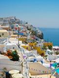 Verbazende mening van Oia in Santorini Stock Foto