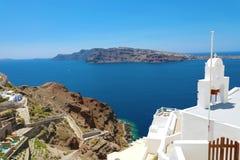 Verbazende mening van Santorini-Eiland met de caldera van vulkaan, Griekenland, Europa stock afbeeldingen