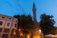 Verbazende nachtfoto van Dzhumaya-Moskee in stad van Plovdiv, Bulgarije stock fotografie