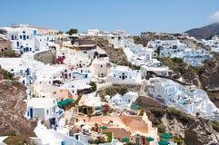 Verbazende Oia architectuur op het Eiland Santorini, Griekenland Stock Afbeelding