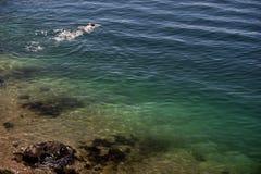 Verbazende overzeese baai blauwe achtergrond Royalty-vrije Stock Afbeeldingen