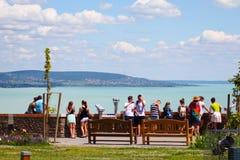 Verbazende panoramamening aan meer Balaton stock afbeeldingen
