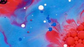Verbazende rode en blauwe bellen van verf op de olieoppervlakte Verf in olie stock videobeelden