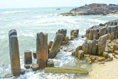 Verbazende rotsvormingen in St. Mary Eiland Royalty-vrije Stock Afbeeldingen