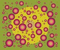 Verbazende roze kleuren van ballen Het vliegen in vreemde wereld stock illustratie