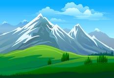 Verbazende sneeuw beklede berg en groene vallei royalty-vrije illustratie