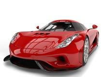 Verbazende vurige rode super auto - het schot van de schoonheidsclose-up Royalty-vrije Stock Foto's