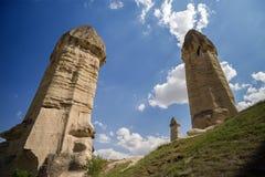 Verbazende zandsteenvormingen in Cappadocia, Turkije stock foto