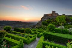 Verbazende Zonsondergang bij Kasteel Marvao in Alentejo, Portugal royalty-vrije stock foto