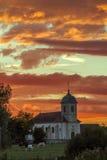 Verbazende zonsondergang in franche-Comté, Frankrijk Stock Foto