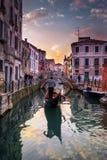 Verbazende Zonsondergang in Venetië Royalty-vrije Stock Afbeelding