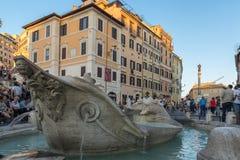 Verbazende Zonsondergangmening van Spaanse Stappen en Piazza Di Spagna in stad van Rome, Italië royalty-vrije stock afbeelding