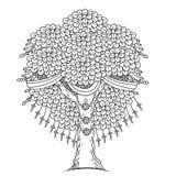Verbazende Zwart-wit Boom van het Leven in de Indische Stijl met Bladeren Beeldverhaal vectorillustraties Royalty-vrije Stock Foto