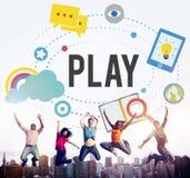 Verbeelding van het spel leidt de Speelse Plezier tot Concept royalty-vrije stock foto