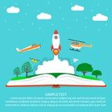 Verbeeldingsconcept, lezing, open boek met raket - ruimteschip, vliegtuig, helikopter, document vliegtuighommel, wolken, sterren  vector illustratie
