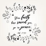 Verbes de citation de bible dans la conception florale de guirlande illustration stock