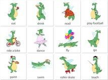 Verbes de l'anglais de dragon vert illustration libre de droits