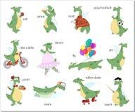 Verbes de l'anglais de dragon vert Illustration de vecteur Photos libres de droits