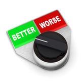 Verbessern Sie gegen schlechteren Schalter Stockbilder