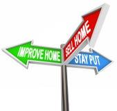 Verbessern Sie nach Hause Verkaufs-Haus dranbleiben drei 3 Pfeil-Zeichen entscheiden Liste vektor abbildung
