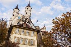 Verbesserte Kirche in Aarburg Stockbild