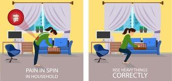 Verbeter en Verkeerde Positie wanneer het Opheffen van dingen vector illustratie