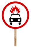 Verbiedende verkeersteken - Bewegings brandbare lading Stock Fotografie