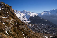 Verbier aerial view Royalty Free Stock Images