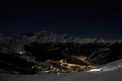 Verbier in the moonlight in winter. Verbier, Switzerland in the moonlight in winter during the supermoon in January 2018 royalty free stock photo