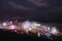 Verbier New Years eve fireworks Royalty Free Stock Photos