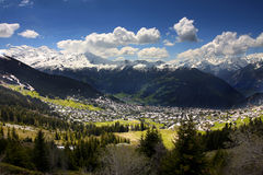 Verbier, Switzerland. Details of skiing resort, Swiss Alps, Verbier, Switzerland Stock Photo