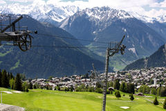 Verbier, Switzerland. Details of skiing resort, Swiss Alps, Verbier, Switzerland Stock Image