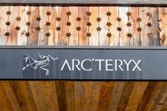 Verbier/switzerland- 09.09-18 : Arcteryx mountain clothe boutique shop sport stock photography