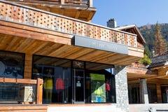 Verbier/switzerland- 09.09-18 : Arcteryx mountain clothe boutique shop sport royalty free stock photos