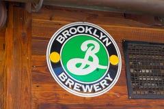 Verbier/Switzerland-09.09.18 : Brooklyn brewery beer logo sign board bar pub royalty free stock image