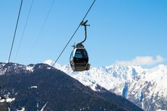 Verbier / Switzerland - March 14 2018 : Gondola lift in Verbier Switzerland Valais Médran Mountain. Gondola Lift in Verbier Switzerland in march 2018 on a sunny Stock Photos