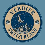 Verbier in Switzerland, ski resort. Abstract stamp or emblem with the name of town Verbier in Switzerland, ski resort, vector illustration Royalty Free Stock Photos
