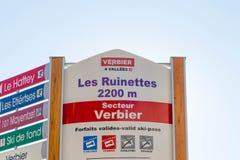 Verbier/Swizterland -09 09 18: de meer verbier van de het paneelinformatie van de hoogteski moeilijkheid van de de richtingshelli royalty-vrije stock foto